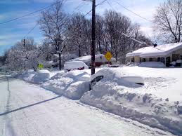 The snow filled streets after a blizzard.