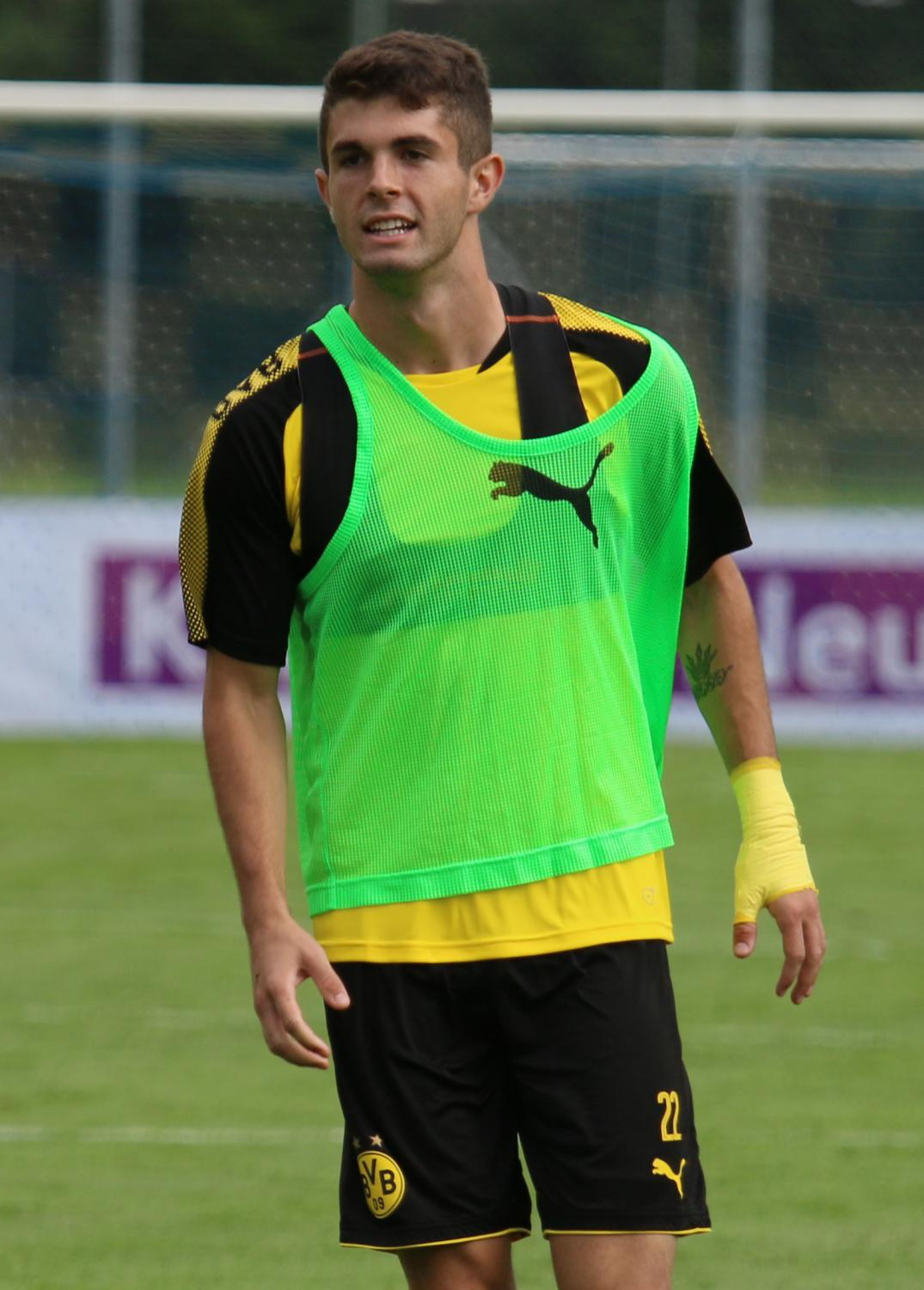 Former Borussia Dortmund winger Christian Pulisic trains with Dortmund first team during a team practice. Starting next season, Pulisic will train in Blue and White at Chelsea F.C.