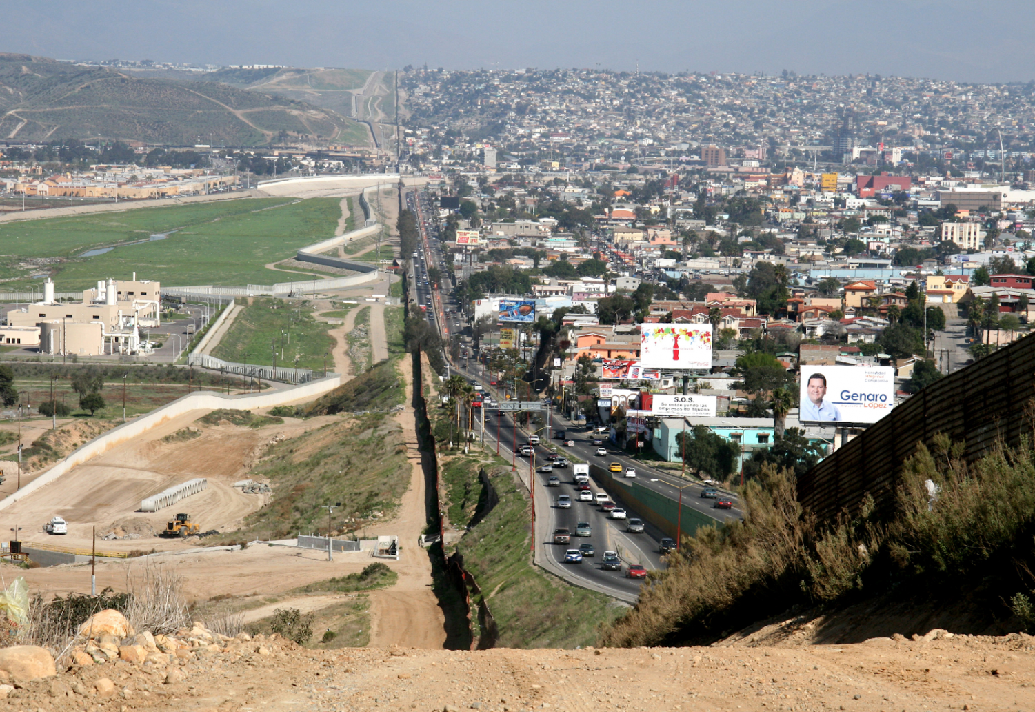 Here is a miles-long stretch of the border between San Diego, California and Tijuana, Mexico. Many southern central Americans attempt to cross this border every year in hopes of a new life in America.