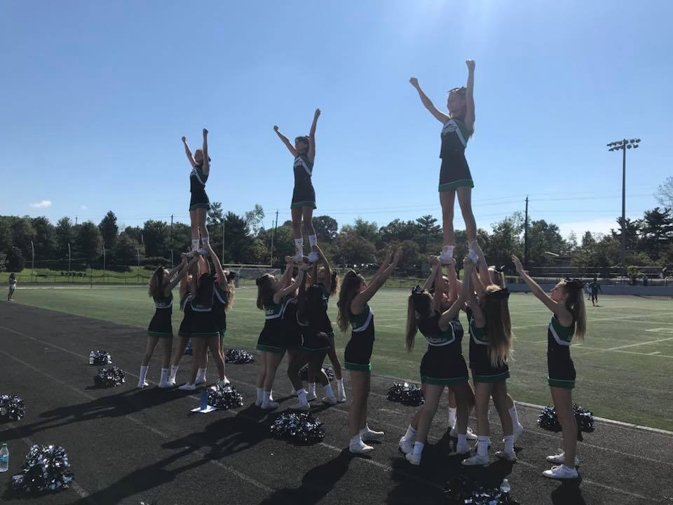 JV cheer prepares for a football game in October 2018. Recent funding issues have forced WJ to cut the  winter JV team, restricting underclassmen from working on their game in a team environment before varsity tryouts.