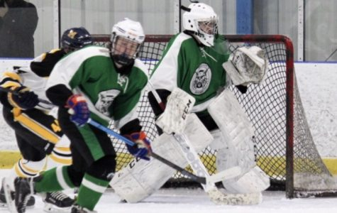 Freshman goalie Joseph Lawrence prepares for a shot in a game against Richard Montgomery on January 11, 2019. The Ice Cats won the game 5-3 with Lawrence saving 38 of the 41 shots in the game.
