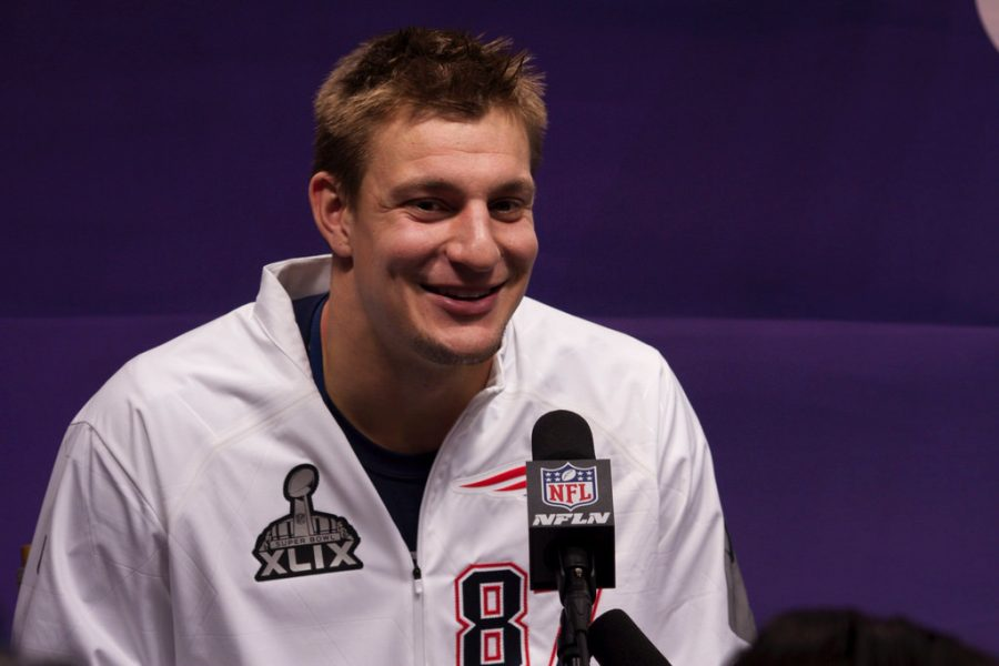 Patriots tight end Rob Gronkowski answers questions at media day before super bowl 49. At this years media day, it was widespread that Gronk wouldn't answer questions about his possible retirement.