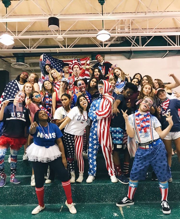 The Leadership Class of 2019 happily displays their school spirit on USA day.