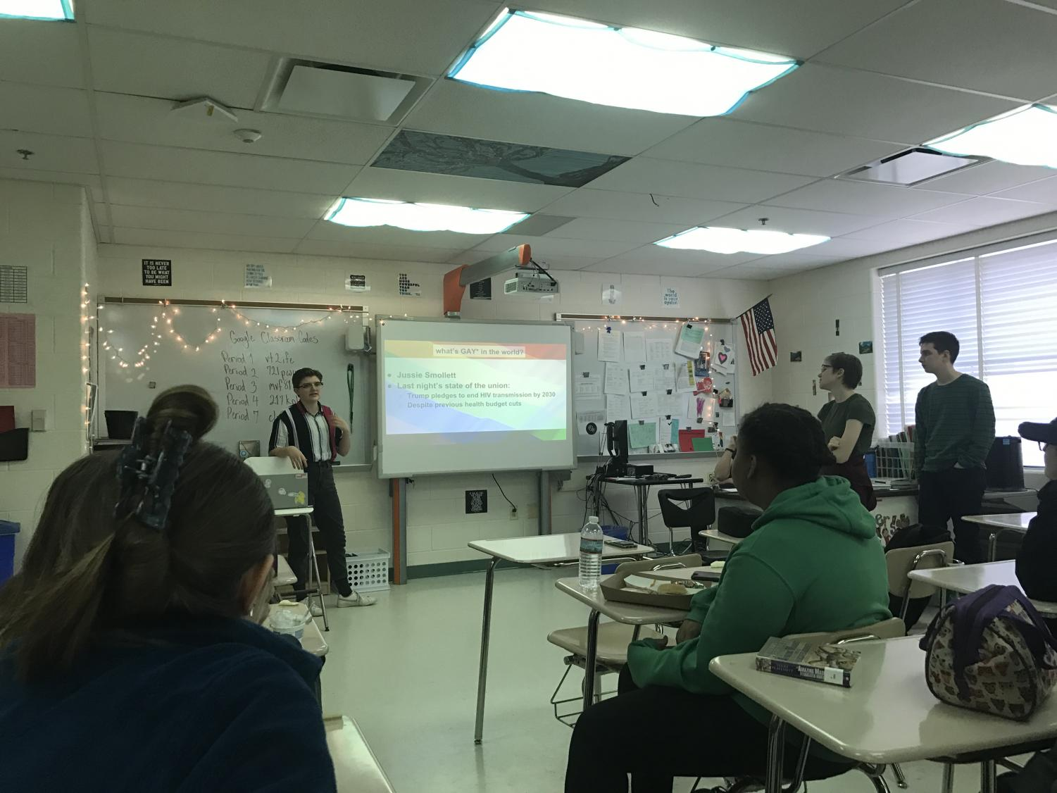 At a GSA meeting, students present their work. The club is invested in exploring their forgotten history.