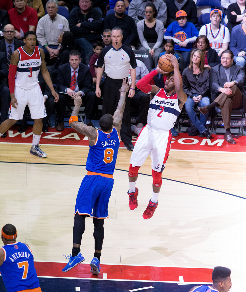 Wizards guard John Wall pulls up for a jump shot against the New York Knicks. After it was announced that Wall would miss the remainder of the season with bone spurs in his heel, Washington has won just seven of 18 games.