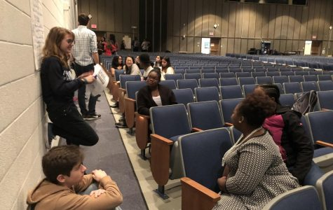 Students from across the county meet together in breakout groups to discuss what is important to them in the coming years for MCPS. A variety of topics were discussed such as Montgomery College classes, final exams and IB programs.