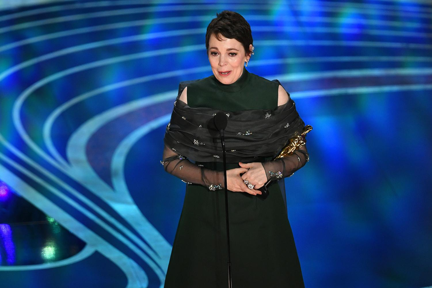 Olivia Colman accepting the Best Actress award for