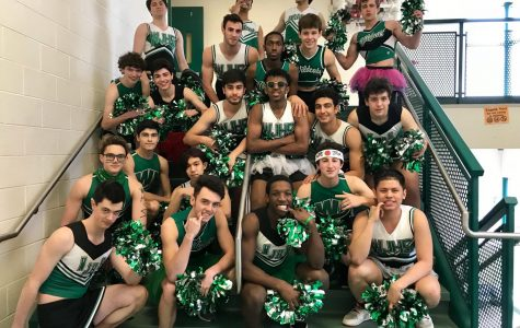 Male poms pose for a quick photo before the big performance. All the boys were excited to perform and felt happy after they left.