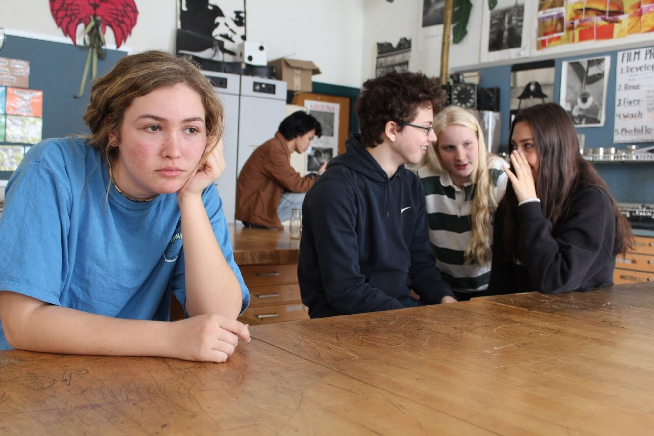 (From left) Jessie Friedman, Noah Weinburg, Abby Matson and Amelia Fink demonstrate the consequences of seemingly harmless jokes. Students can often be victims of insults without direct intent.