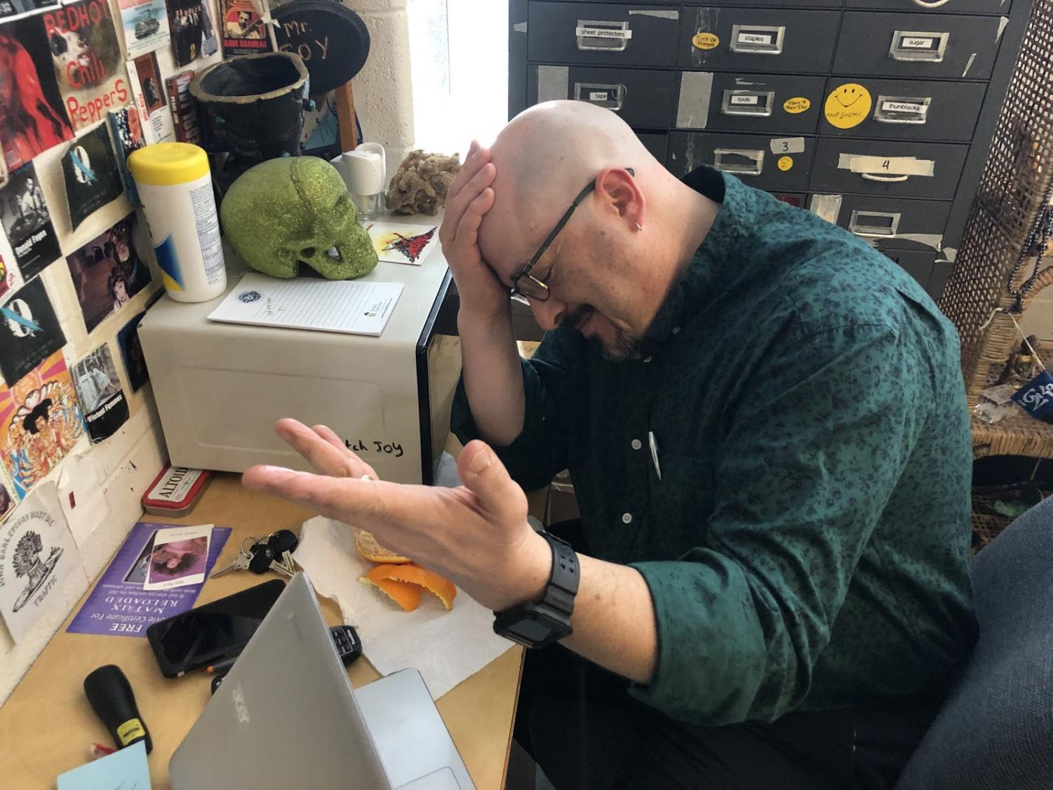 WJ teacher Mr. Joy shows his disappointment in other teachers amidst the Juul controversy. The epidemic started with student but has spread all over the school. Photo by Matt Garfinkel.