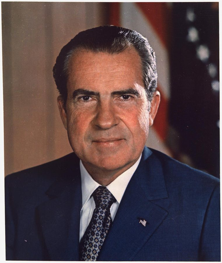 Richard Nixon smiles wider than he ever has before, the day of his inauguration. Nixon resigned as President of the United States in disgrace, and it is believed he is living in self-imposed exile in New Mexico.