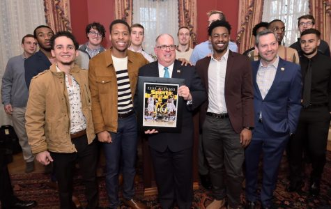 Last year's Cinderella team, UMBC, visits Maryland governor Larry Hogan after becoming the first 16 seed to beat a one seed when they took down the University of Virginia 74-54.