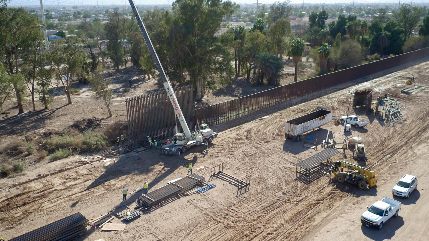 Construction of the wall on the southern border has begun. President Trump used his power to declare a national emergency to get the funds for the wall, though opponents argue the constitutionality of the emergency declaration.