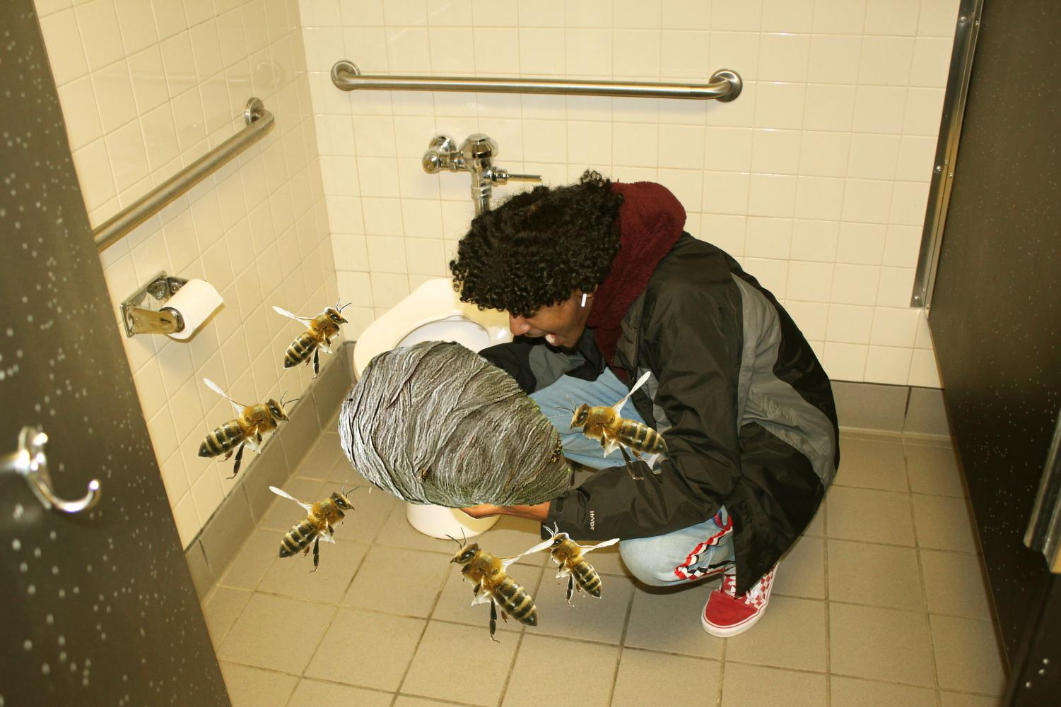 Senior Yoni Mesfein chows down on an active beehive in a women's bathroom stall
