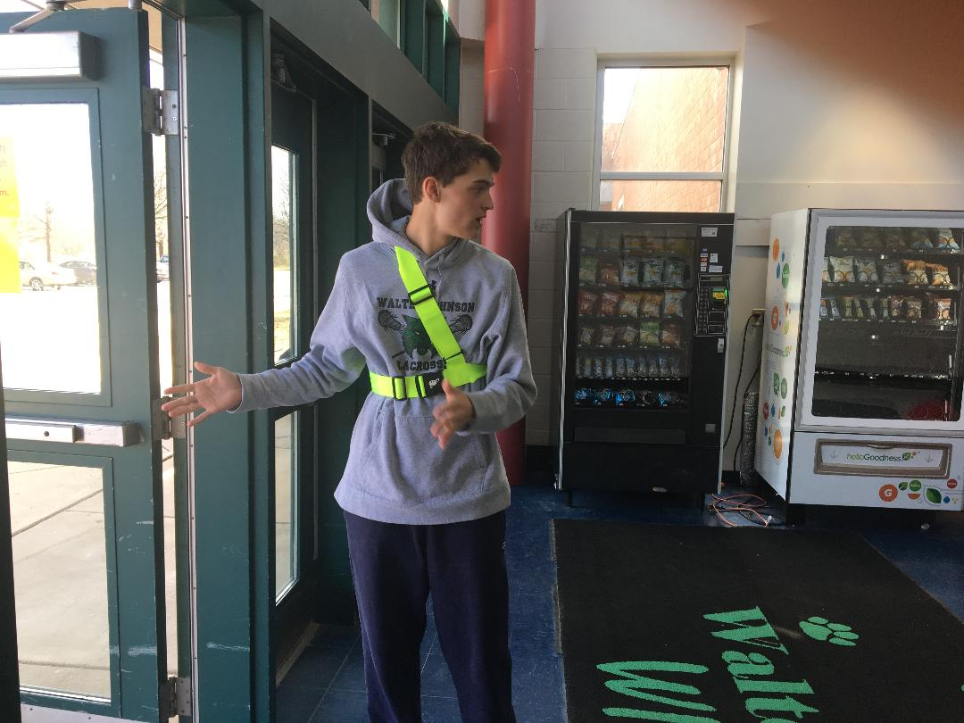 Junior Jack Danco showing off flawless technique as a safety patrol. Danco was an adequate patrol back in his elementary school days, so he should suffice as one of WJ's new patrols. Right now, patrol belts are still only being made in elementary school sizes; it's a bit of a squeeze.
