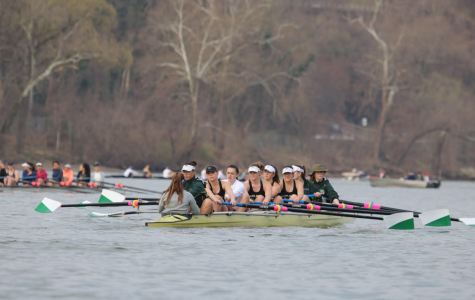 Members of WJ's Crew team row across the Potomac river while competing in a scrimmage against Washington and Lee. The crew team competes in regattas and scrimmages both in and out of state during the season.