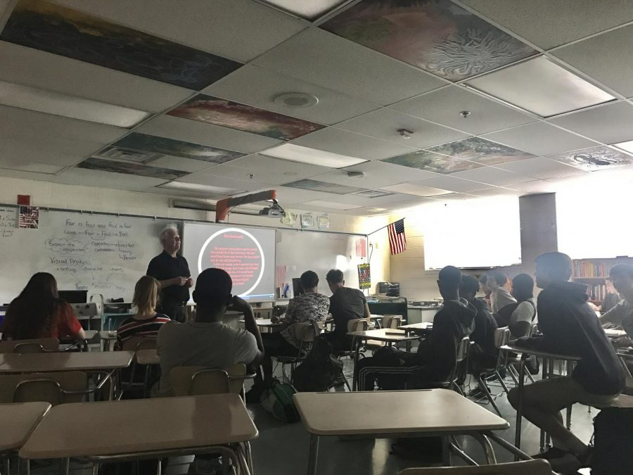 English teacher William Griffiths discusses the movie Schindlers List with his tenth grade students. Sophomores inappropriate actions at the showing of the movie have prompted discussions about ignorance and disrespect.