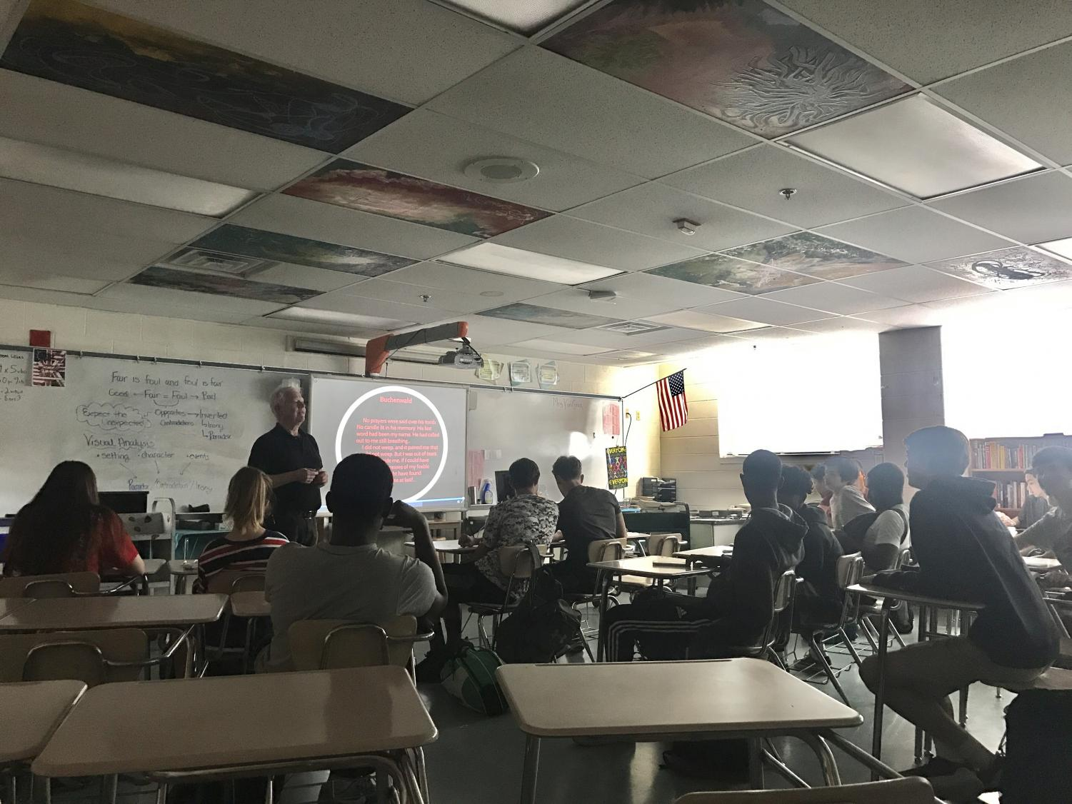 English teacher William Griffiths discusses the movie 'Schindler's List' with his tenth grade students. Sophomores' inappropriate actions at the showing of the movie have prompted discussions about ignorance and disrespect.