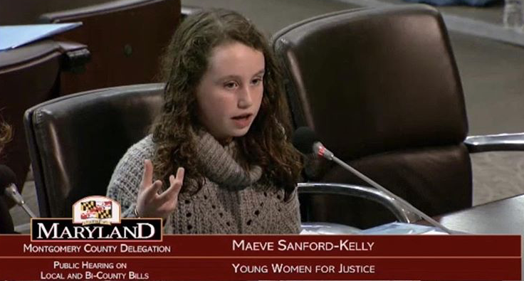 Sophomore+Maeve+Sanford-Kelly+testifies+at+a+local+hearing+to+support+the+passage+of+her+bill%2C+which+requires+all+Maryland+public+schools+to+teach+sexual+consent+in+their+health+curriculums.+Governor+Hogan+signed+it+into+law+in+May+2018.