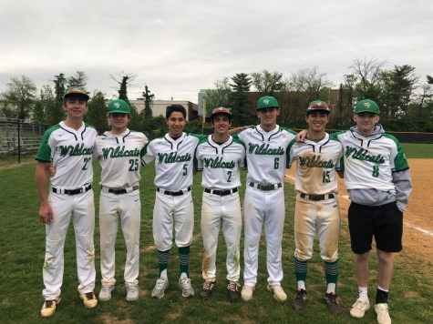 The  seniors celebrate their senior night against Poolesville to close out the regular season. The Wildcats won the game 5-2, pitching a no-hitter in the process.
