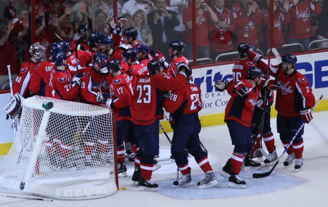 The Capitals celebrate a home goal. After winning the Stanley Cup last year, the remaining teams will try achieve what Ovechkin and the Caps could not repeat.