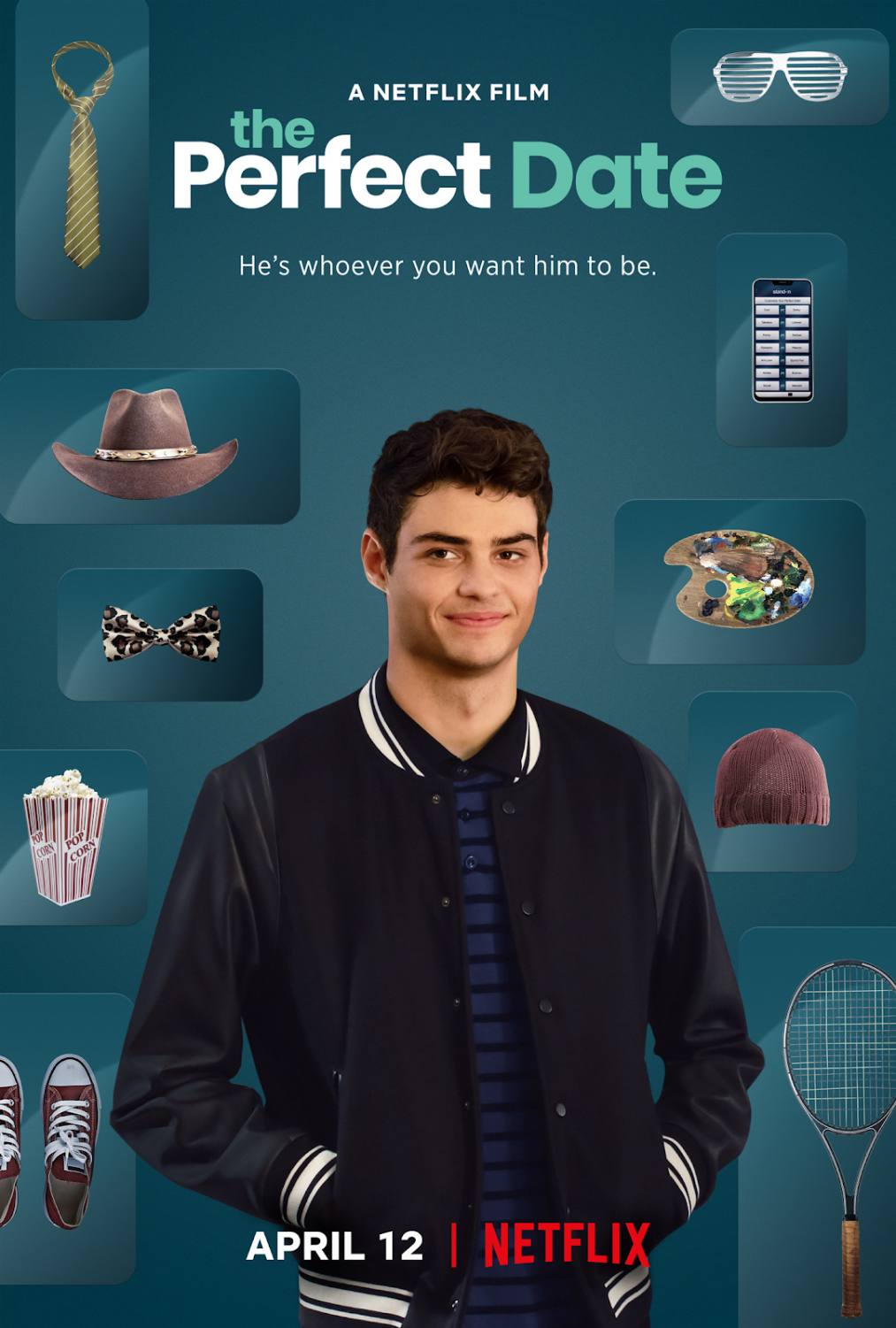 "The Netflix original film The Perfect Date movie cover shows star of the film Noah Centineo, who plays the heart throbbing Brooks Rattigan in the movie. He plays several different roles on his multiple different kinds of dates he attends through his dating app, ""The Stand-In"", based off of a book."