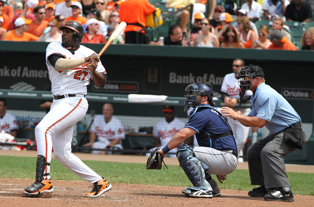 Former MLB player Vladimir  Guerrero up at bat. Guerrero's approach at the plate, which was mostly just about making contact and putting the ball in play, is a dying breed in today's game.