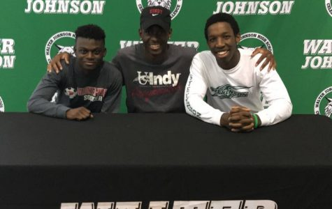 Seniors Deji Onitri (left) (Division I Soccer, Gardner-Webb University), Makel Rasheed (center) (Division II Soccer, University of Indianapolis), and Chris Manguelle (right) (Division III Football, Stevenson University) prepare to sign their letters of intent to play athletics at the collegiate level.