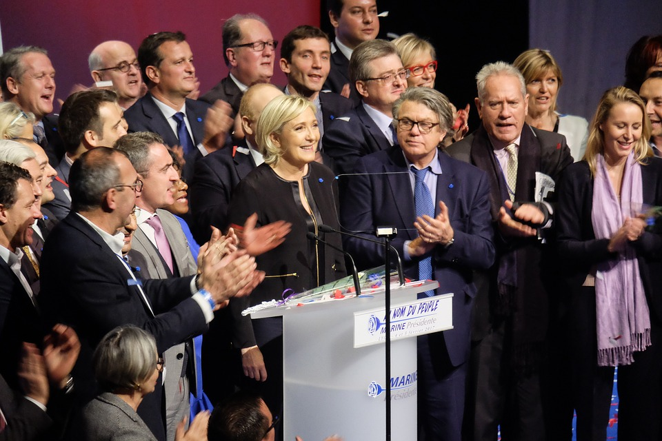 Marine Le Pen, the leader of the far right French party, the National Front. Recent polls show they have overcome the leading liberal party, the LREM.