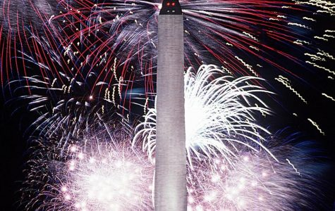 Forth of July fireworks displayed at Washington Monument.