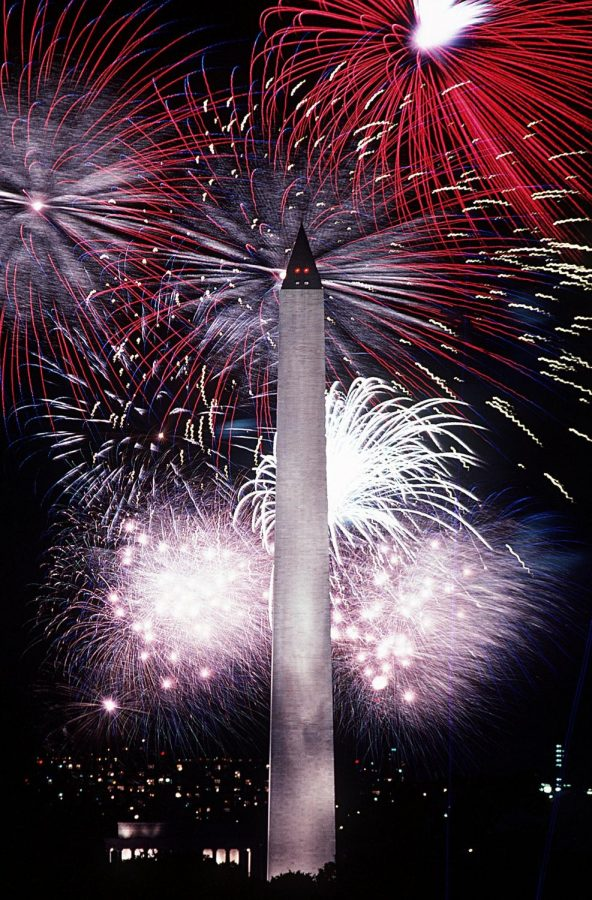 Forth+of+July+fireworks+displayed+at+Washington+Monument.