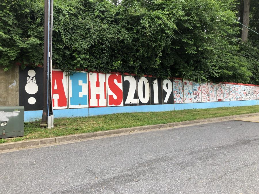 A+mural+made+by+the+Albert+Einstein+High+School+class+of+2019.+Seniors+painted+their+name+on+the+wall+outside+the+front+of+the+school.