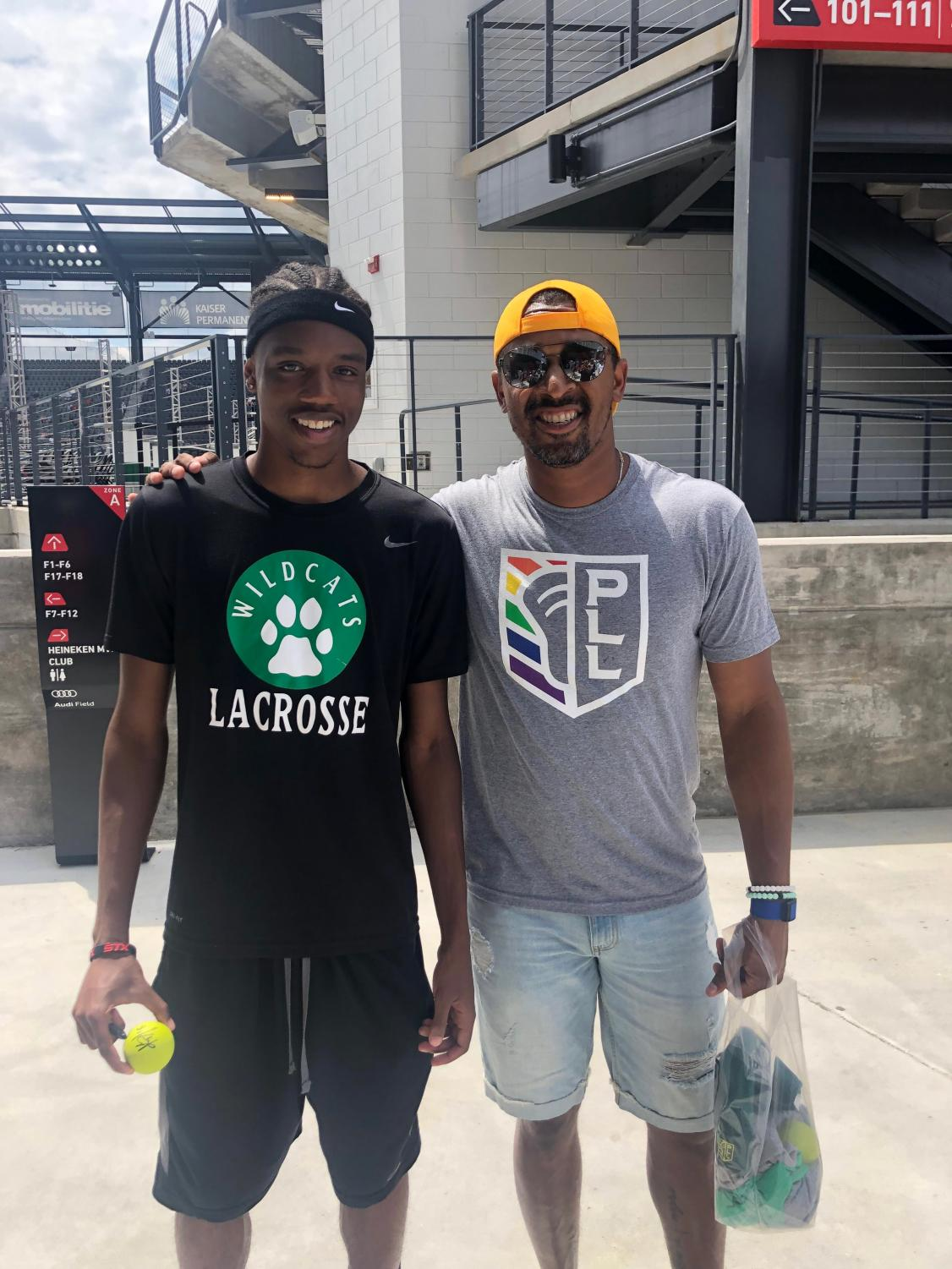 Senior Zachary Cannon with Redwoods midfielder Kyle Harrison before a Premier Lacrosse League game at Audi Field in Washington DC.