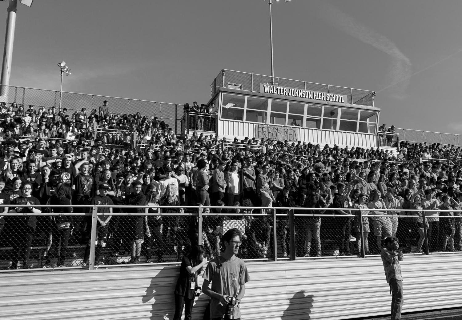 Held in the outdoor stadium this year, the fall pep rally brought together students of all grades, many dressed in their designated class color. A minority of students refrained from participating in the spirit, causing them to appear as outcasts to some.