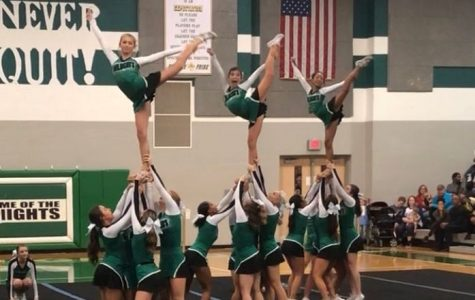 WJ cheer performs in their first competition of the season at Century High School. The team will honor their seniors tonight alongside the football players.