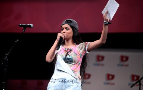 Lilly Singh speaking at the 2014 VidCon convention at the Anaheim Convention Center.