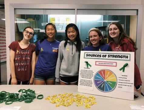 The Sources of Strength Offcers hand out yellow ribbons for suicide prevention awareness month. The club strives to spread awareness on these issues and create a safe place for people to talk about them.