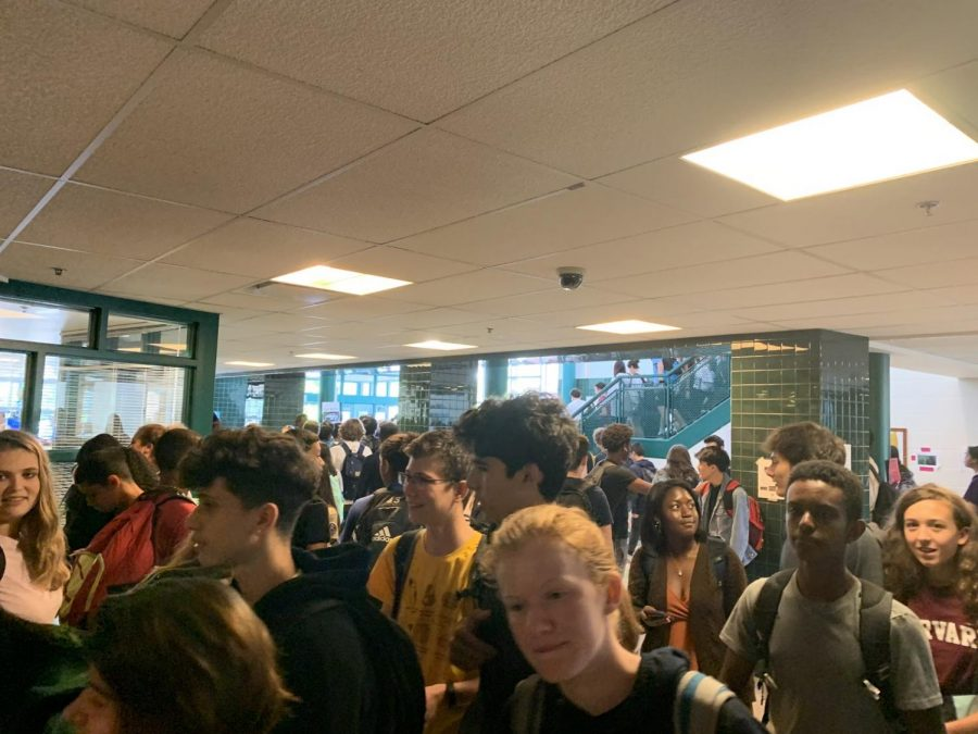 Students crowd the hallways in between periods during the school day.  The student population has grown from around 2,400 to 2,700 students.  Photo by Kiley Ring