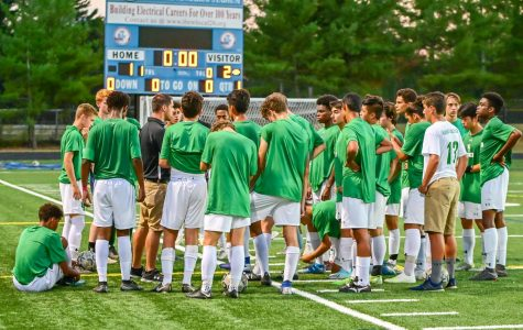 WJ boys soccer gather up for the pre-game team-talk led by Head Co-Coach Anthony Tossounian. The score ended as a 5-0 loss at Walt Whitman High School.