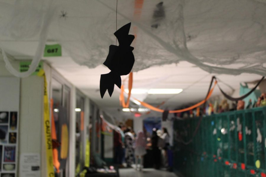 Students roam the hallway as the bats fly above them. Spiders crawled the spider webs around the ceiling.