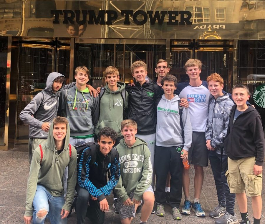 The+boys+cross+country+team+took+their+annual+photo+outside+of+Trump+Tower.+The+team+enjoys+sightseeing+in+New+York+City+along+with+participating+in+a+competitive+meet.