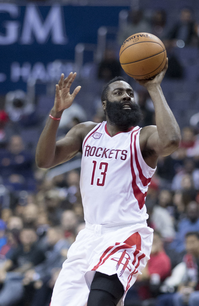 James Harden goes up for a layup. Harden averaged 36.1 points last year and is averaging nearly 40 points per game this year.