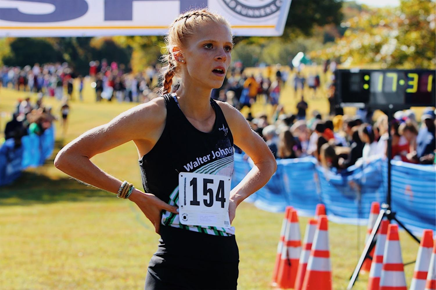 Senior Jenna Goldberg wins first place at the 2019 Great American XC Festival. Goldberg beat the course record with a time of 17 minutes and 28 seconds.