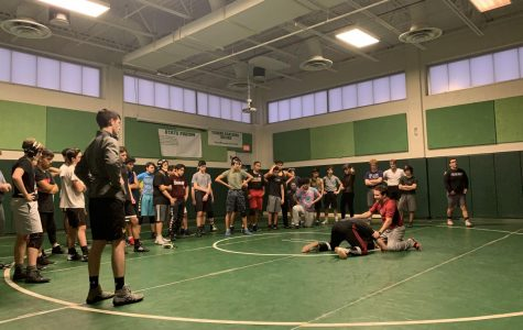 Coach Evan Silver and junior Joseph Meyer  show the team technique at their daily practices. Wrestling had a solid season last year and will look to continue their success.