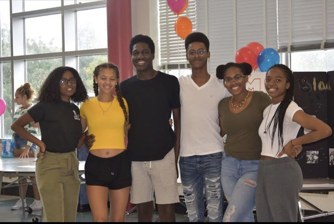 The Black Student Union members (starting from left) Lwam Yebio, Liana Wilkinson, Nnayelu Oranuba (President), Yerim Kone (Vice President), Jaydan Fogo and Paula Tinong. The members attended the New Student cookout to recruit incoming freshman.