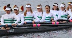 Sophomore Clara Abdelmalek (sixth from left) row with her team in a race during a regatta. Like most athletes, Abdelmalek takes care of her mental and physical health so she is able to excel in her sport and push her limits.