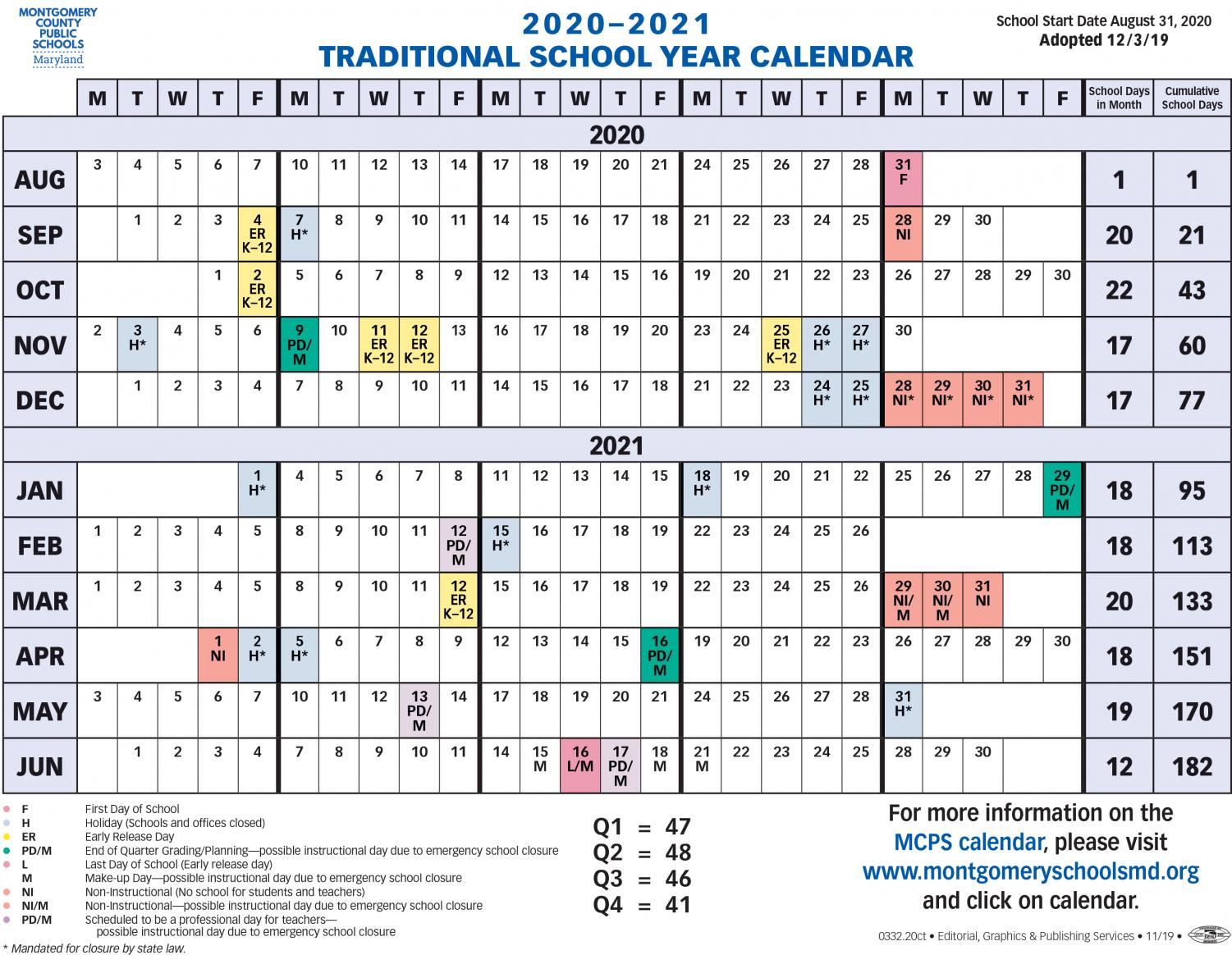 The new 2020-2021 school year calendar includes all holidays and days off.