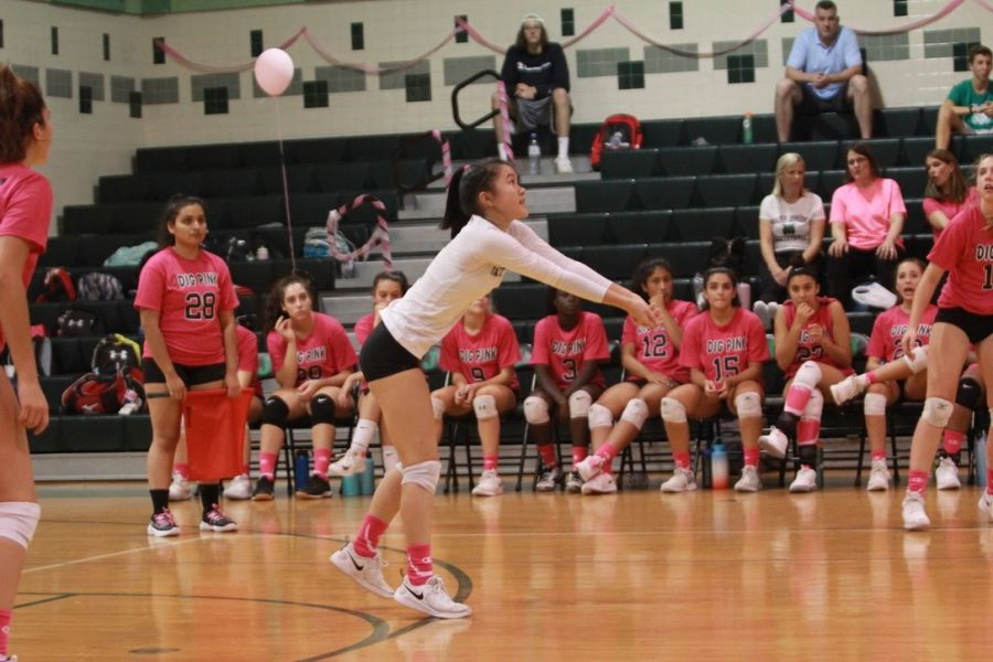 Senior Karina Yung hits the ball over the net in the Dig Pink game against Whitman. The game is an annual fundraiser in October to raise awareness for breast cancer.