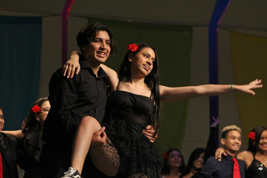 Charly+Rodriguez+and+Natalia+Fontalvo+dance+the+salsa+dance+during+the+Hispanic+and+Latin+Culture+Assembly.+The+Salsa+dance+originates+from+Cuba.
