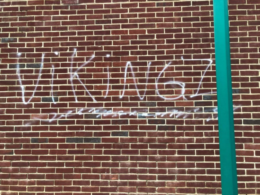 The+word+%22Viking%22+was+spray+painted+on+B-CC%27s+wall%2C+raising+some+suspicion+that+Whitman+students+were+involved+with+the+vandalism+as+well.